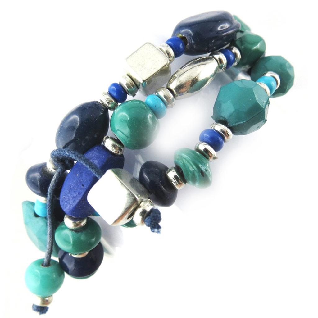 Bracelet ethnique \'Kilimanjaro\' bleu turquoise - [N1142]