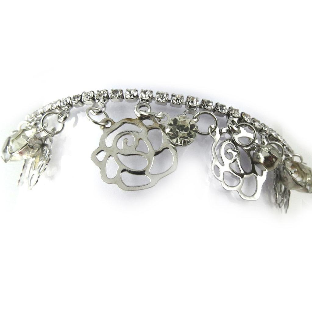 Bracelet \'Rosa Romantica\' blanc argenté  - [N1148]