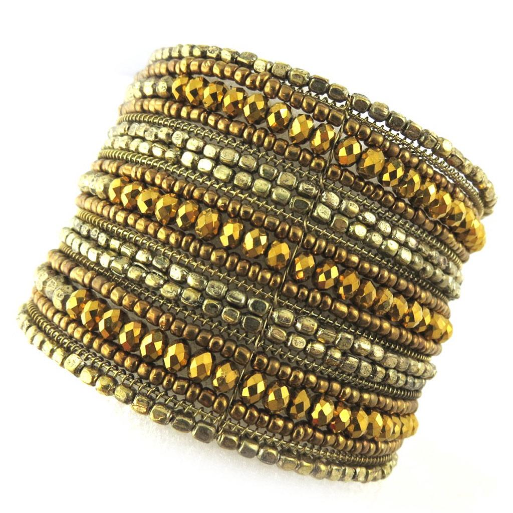 Bracelet créateur \'Katmandou\' doré - [N1183]