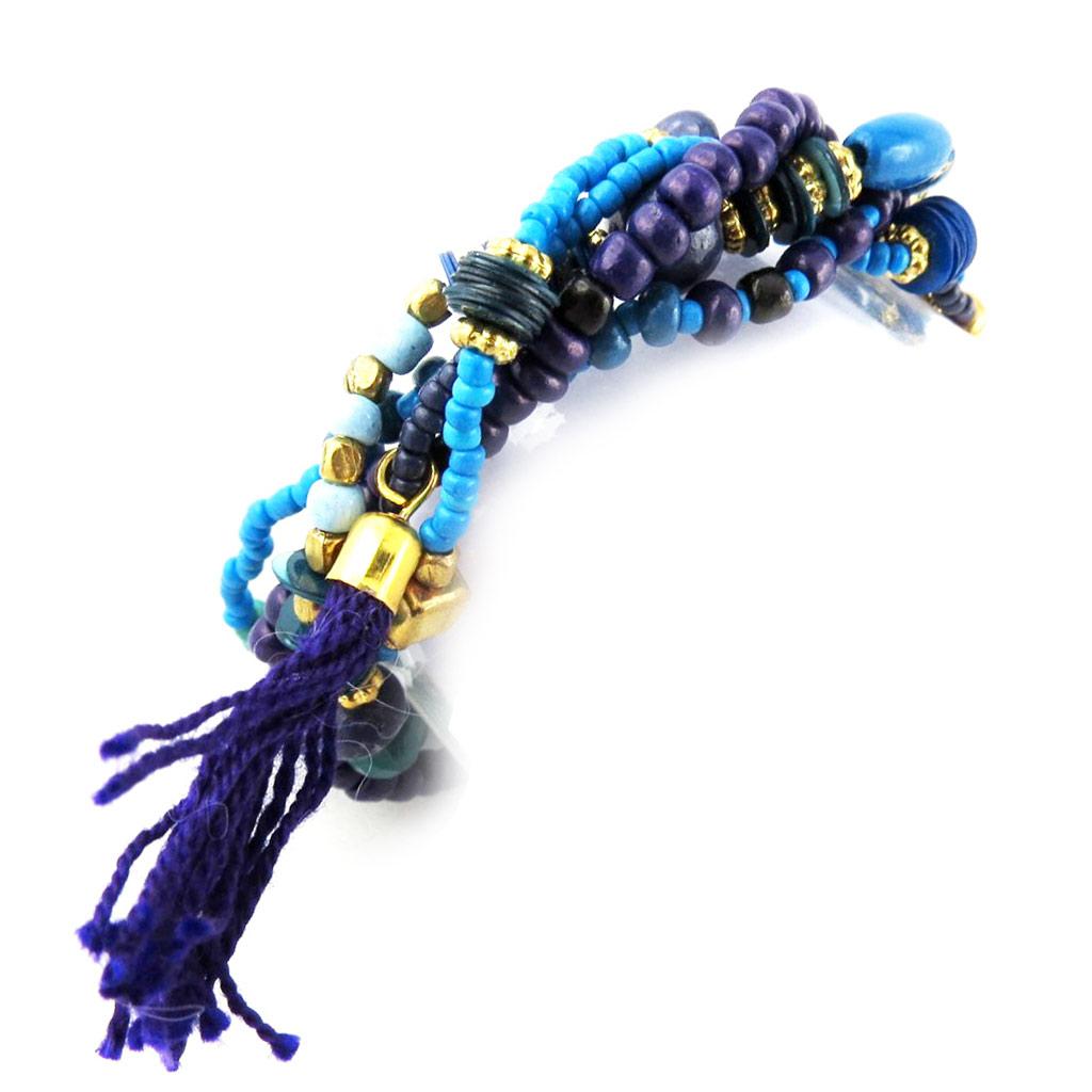 Bracelet ethnique \'Kilimanjaro\' bleu doré - [N1192]