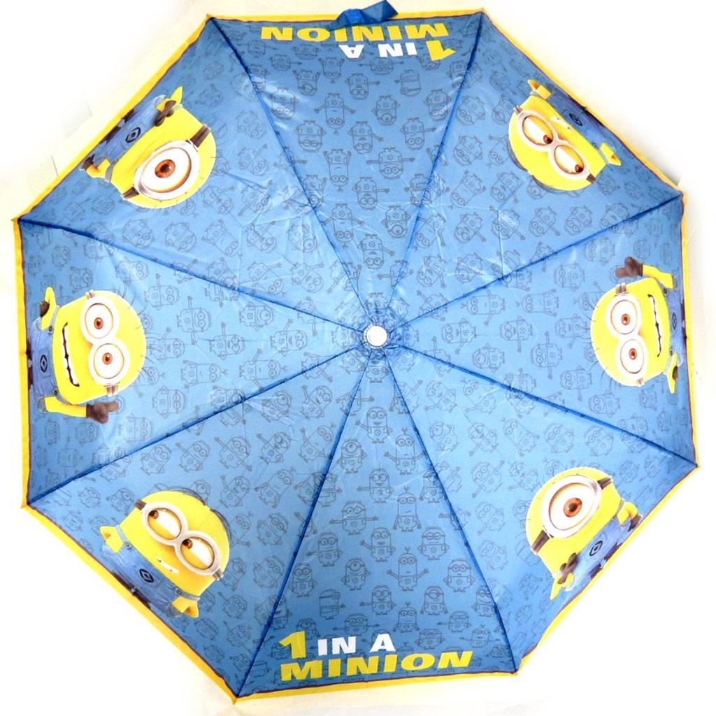 Parapluie mini manuel \'Minions\' bleu jaune  - [N1252]
