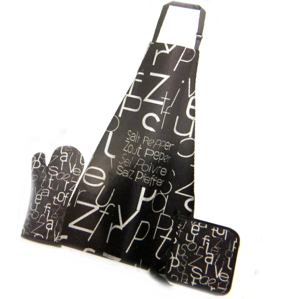 Coffret tablier \'Poivre et Sel\' noir (tablier + manique + gant) - [N1273]