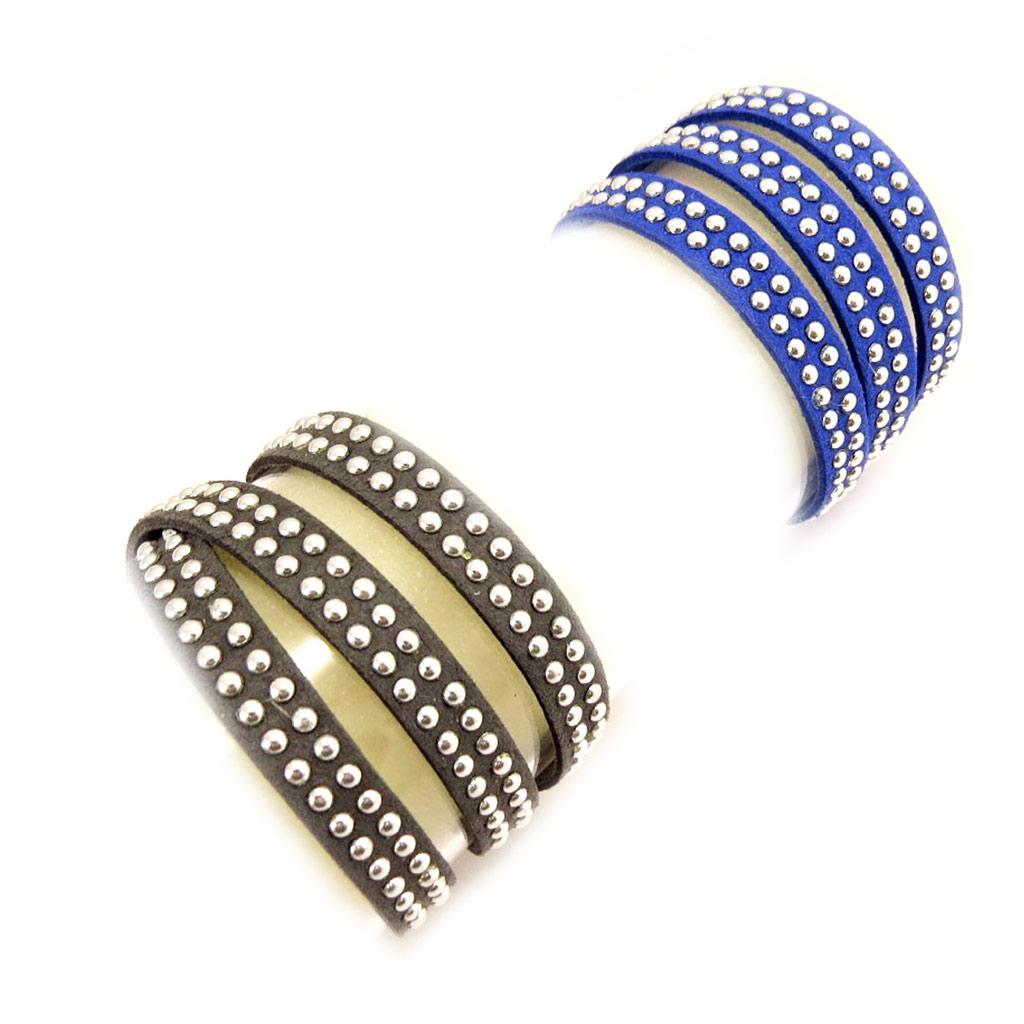 2 bracelets Créateur \'Sissi\' gros bleu (3 tours) - [L1352]