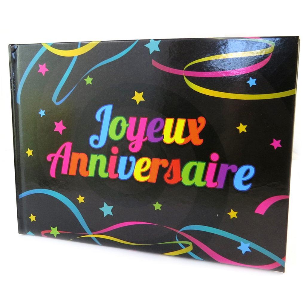 Livre d\'or \'Joyeux Anniversaire\' noir multicolore - 215x155 cm - [P1052]