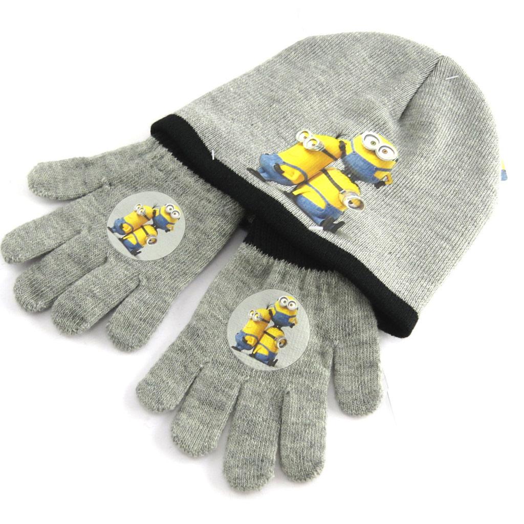 Ensemble gants et bonnet \'Minions\' gris - [N1365]
