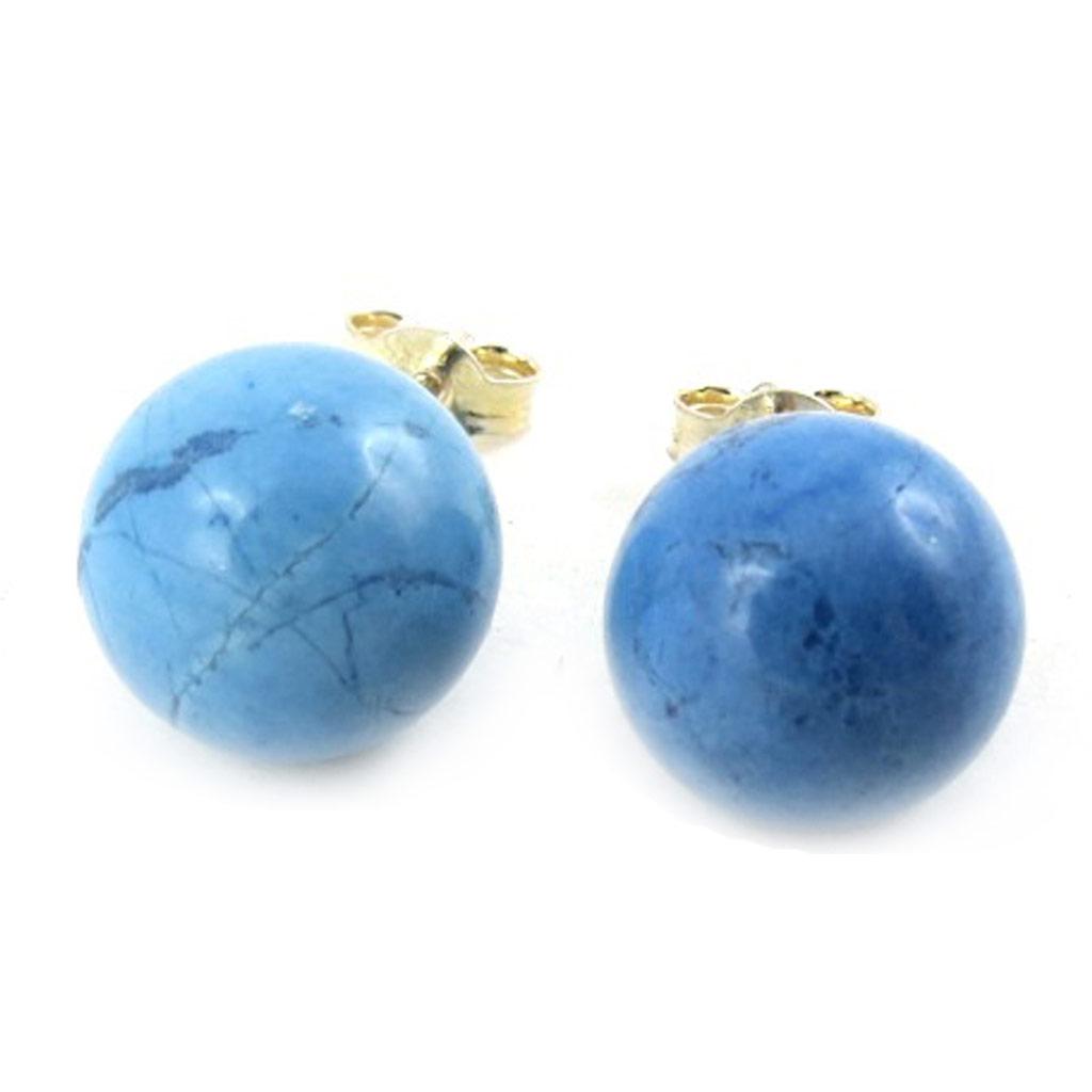 Boucles argent \'Mineralia\' bleue - 10 mm - [N1378]