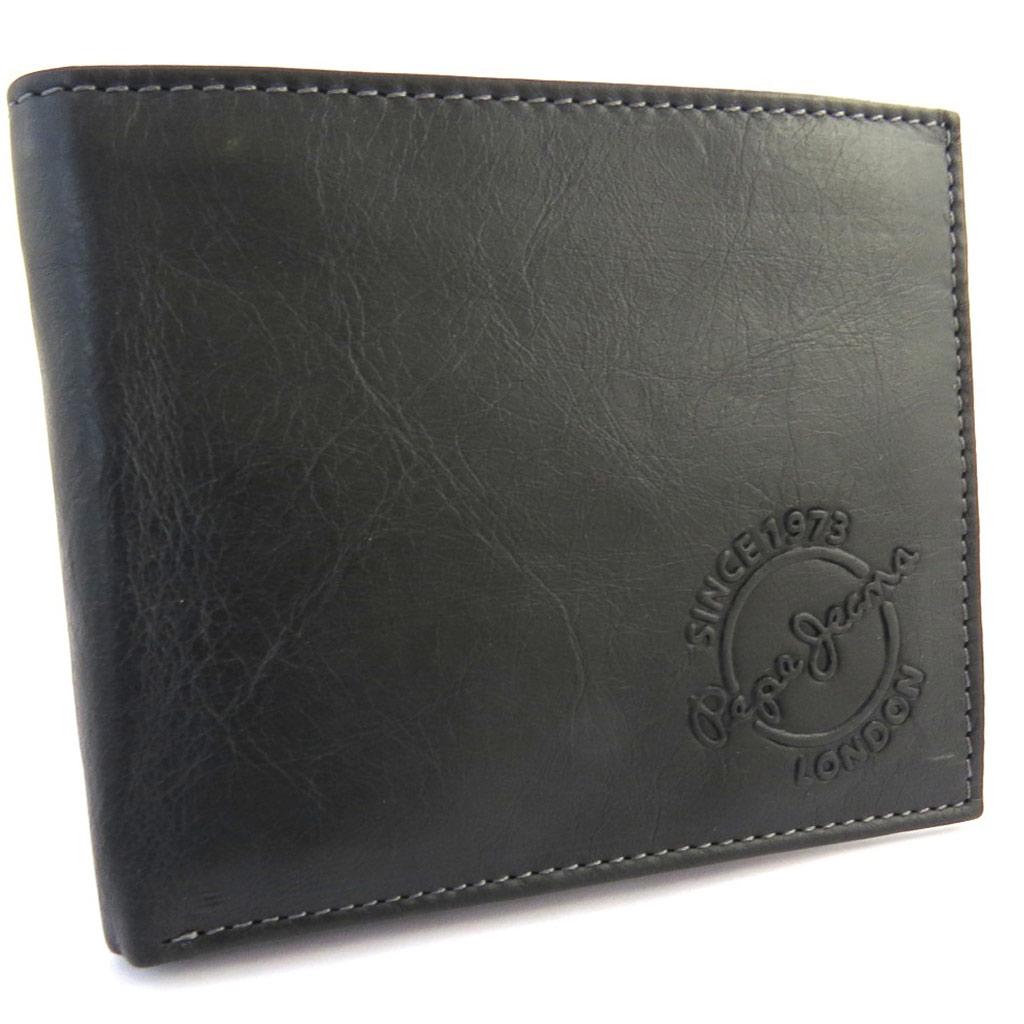 Portefeuille cuir \'Pepe Jeans\' noir vintage (12x10x15 cm) cartes + - [N1406]