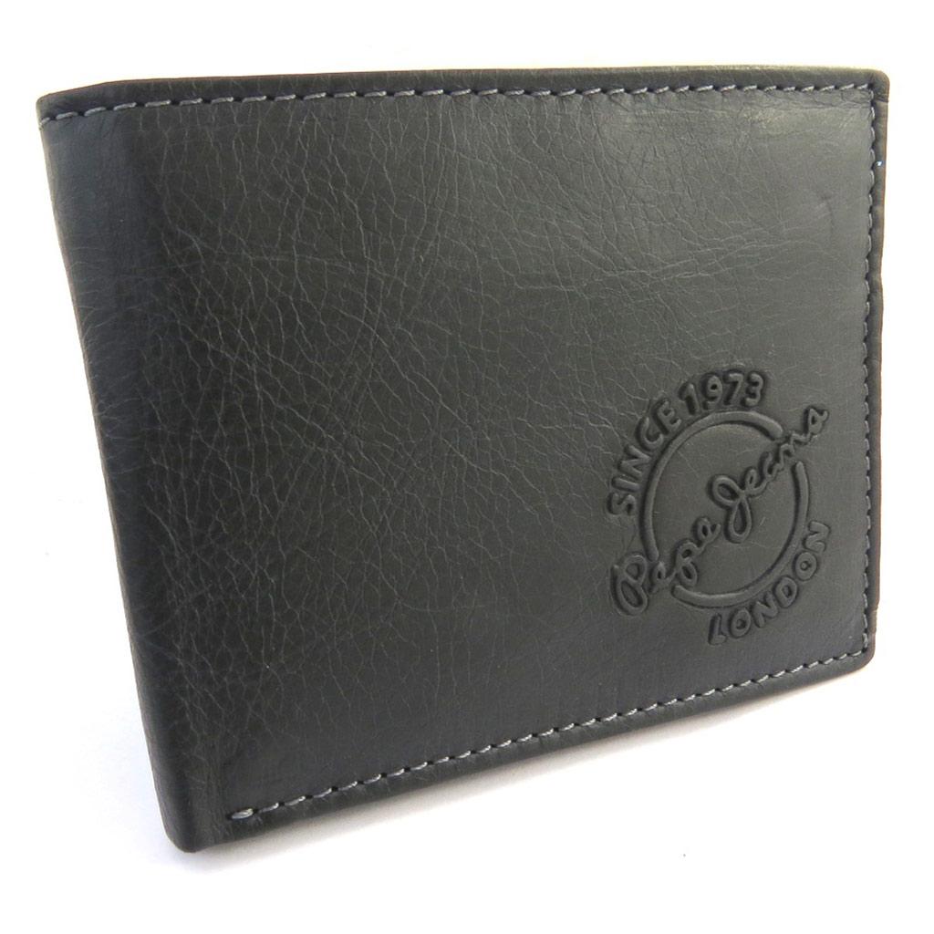 Portefeuille italien cuir \'Pepe Jeans\' noir vintage (105x85x15 cm) - [N1410]