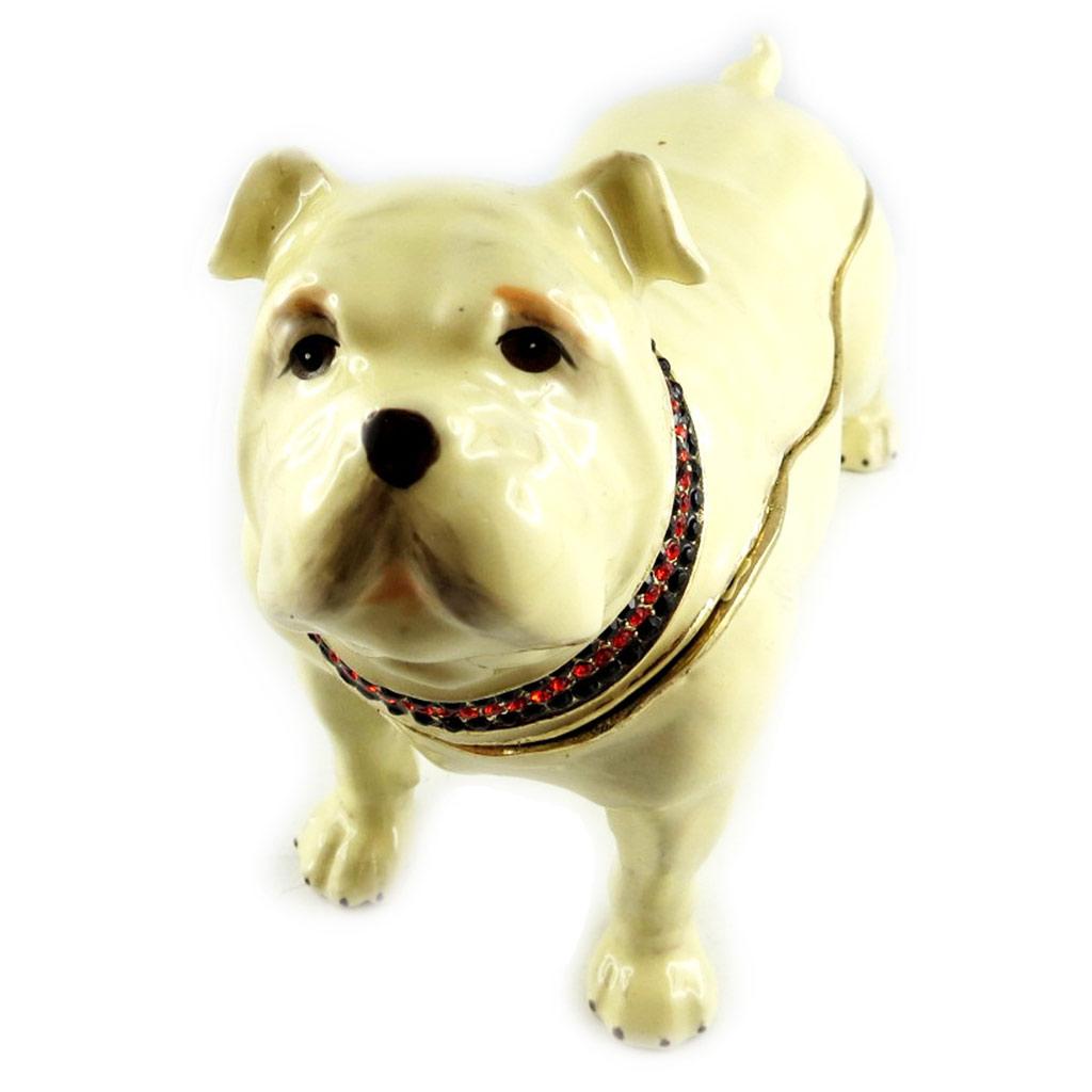 Coffret à Bijoux \'Bulldog Anglais\' beige - [L1534]