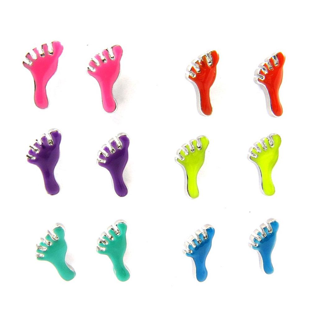 6 paires de boucles \'Coloriage\' tutti frutti (pieds) - [L1553]