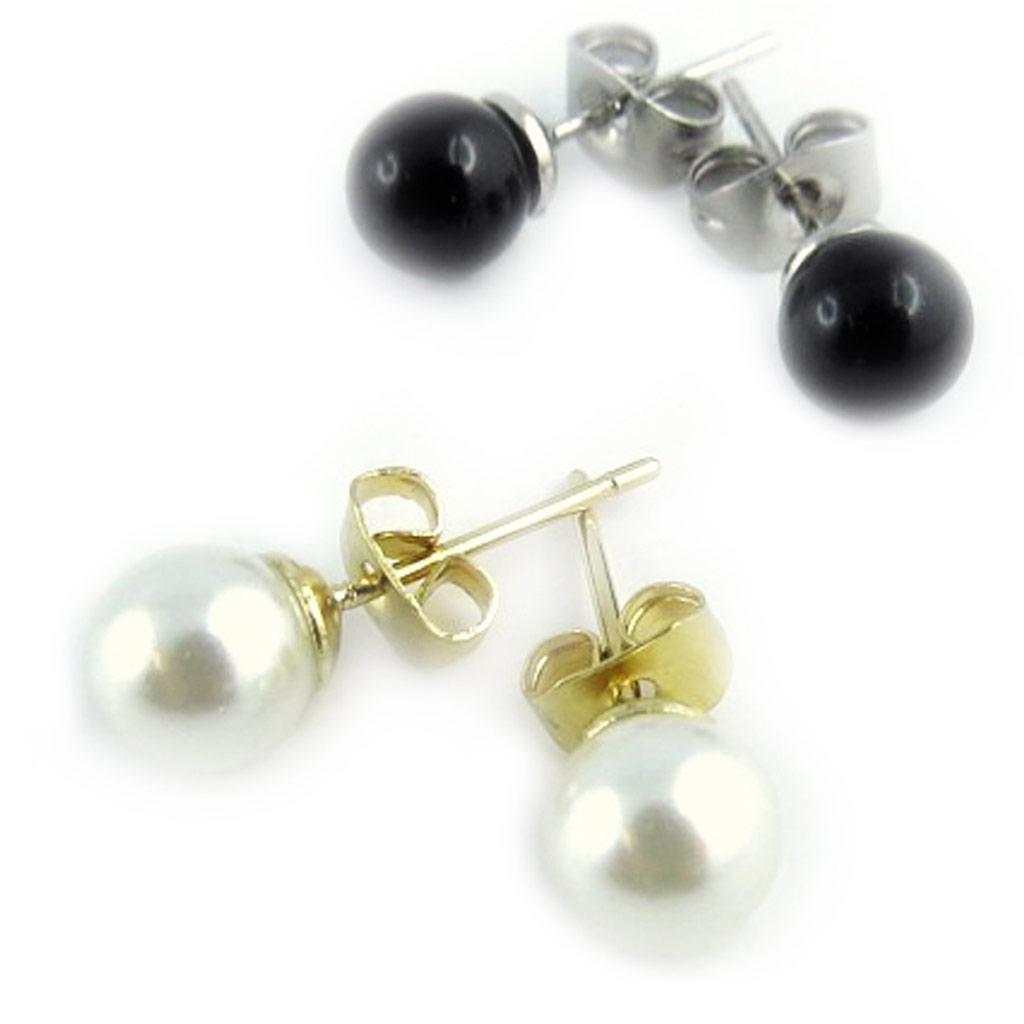 2 paires de boucles \'Perla\' ivoire noir (6 mm) - [L1583]