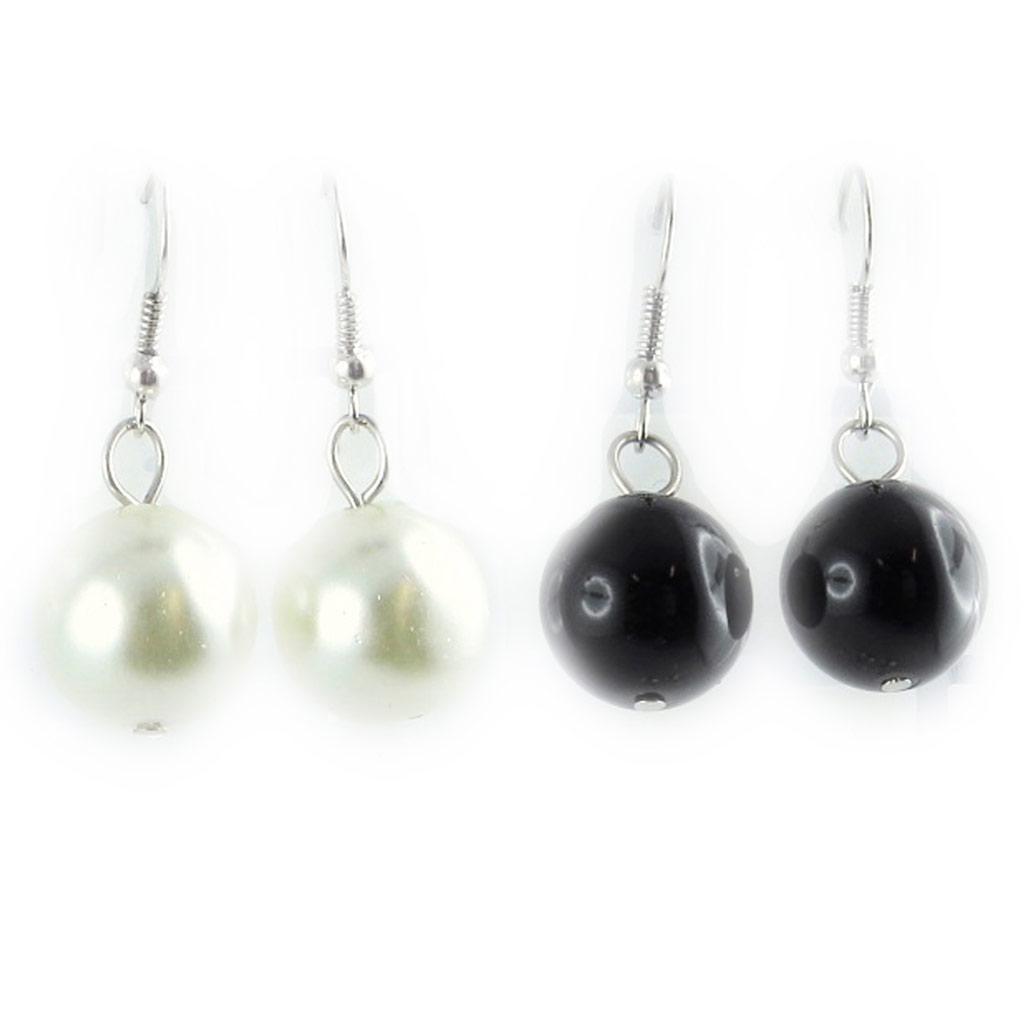 2 paires de boucles \'Perla\' noir ivoire - [L1587]