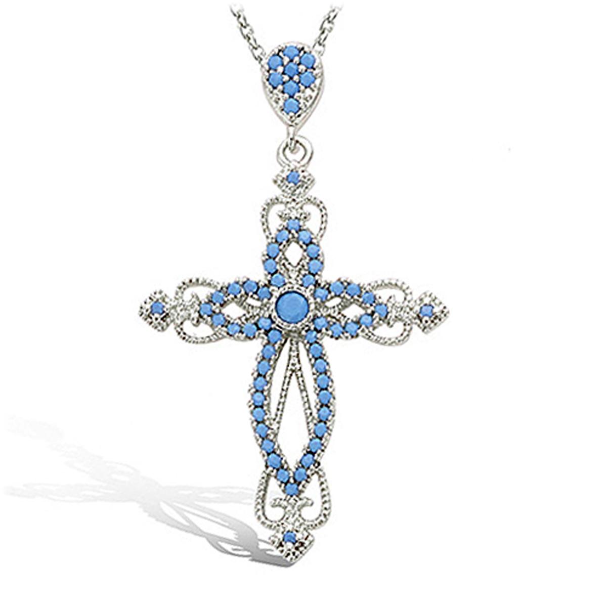 Pendentif Argent \'Croix Baroque\' turquoise argenté (rhodié) - 39x21 mm - [P1183]