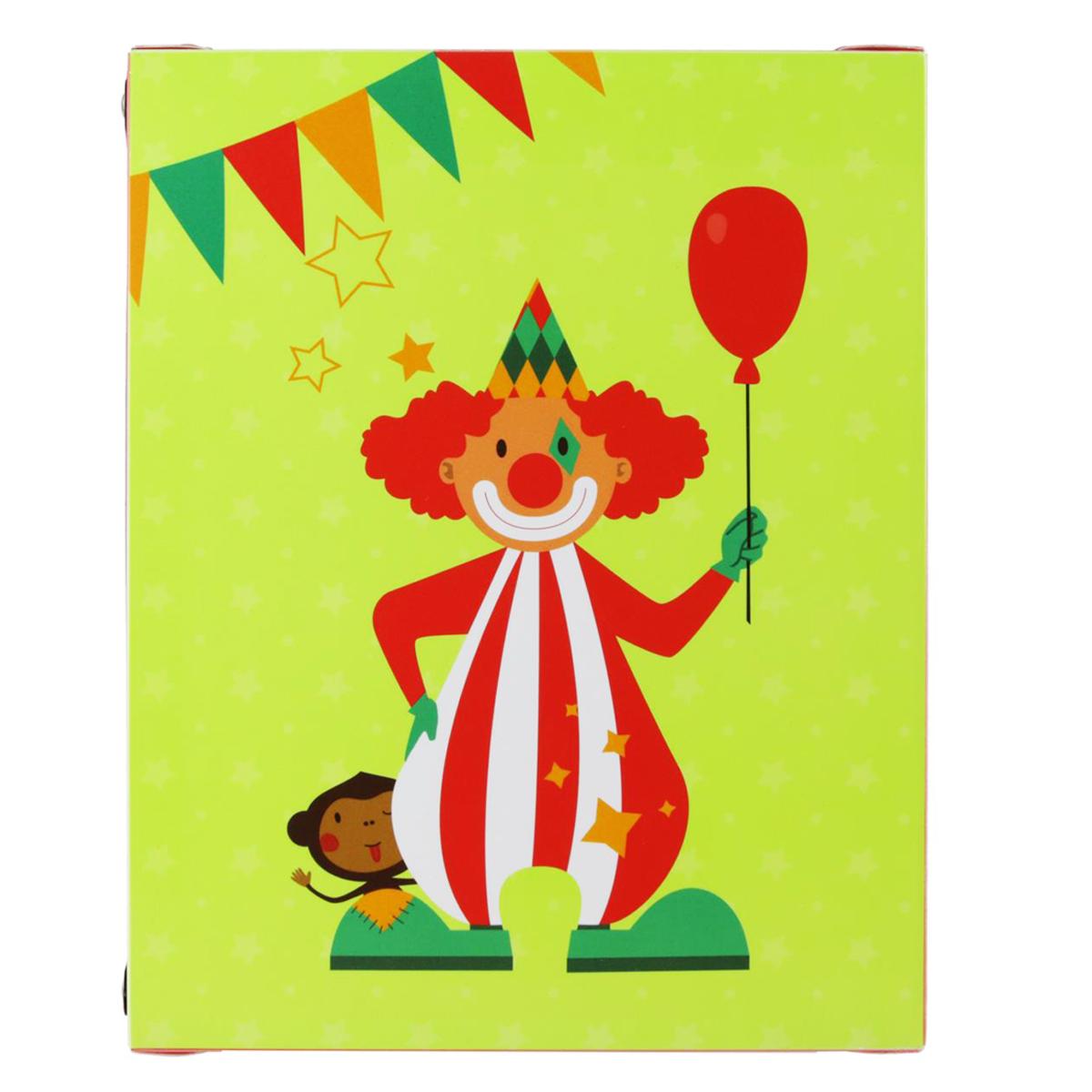 Boite de rangement pliable \'Circus\' vert (clown) - 23x18x10 cm  (4L)  - [Q1153]