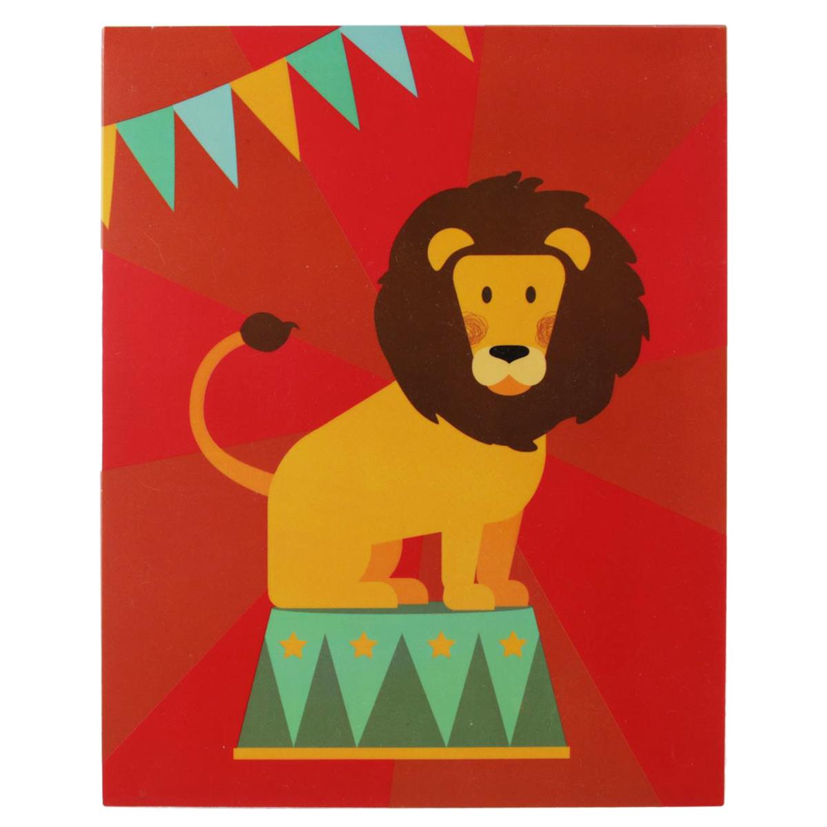 Boite de rangement pliable \'Circus\' rouge (lion) - 23x18x10 cm  (4L)  - [Q1156]