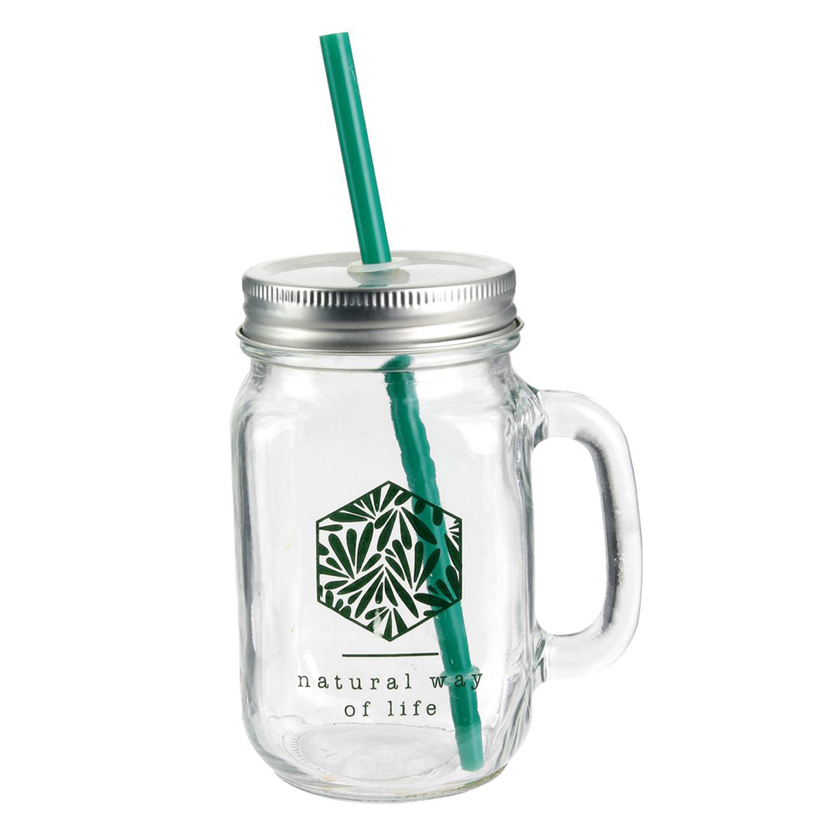 Mason jar verre \'Jungle\' transparent vert - 45 cl - [Q1163]