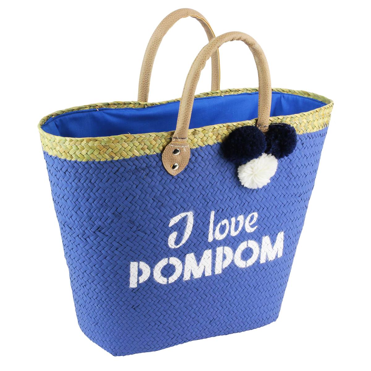 Sac de plage \'I love Pompom\' bleu - 50x28 cm - [Q1176]
