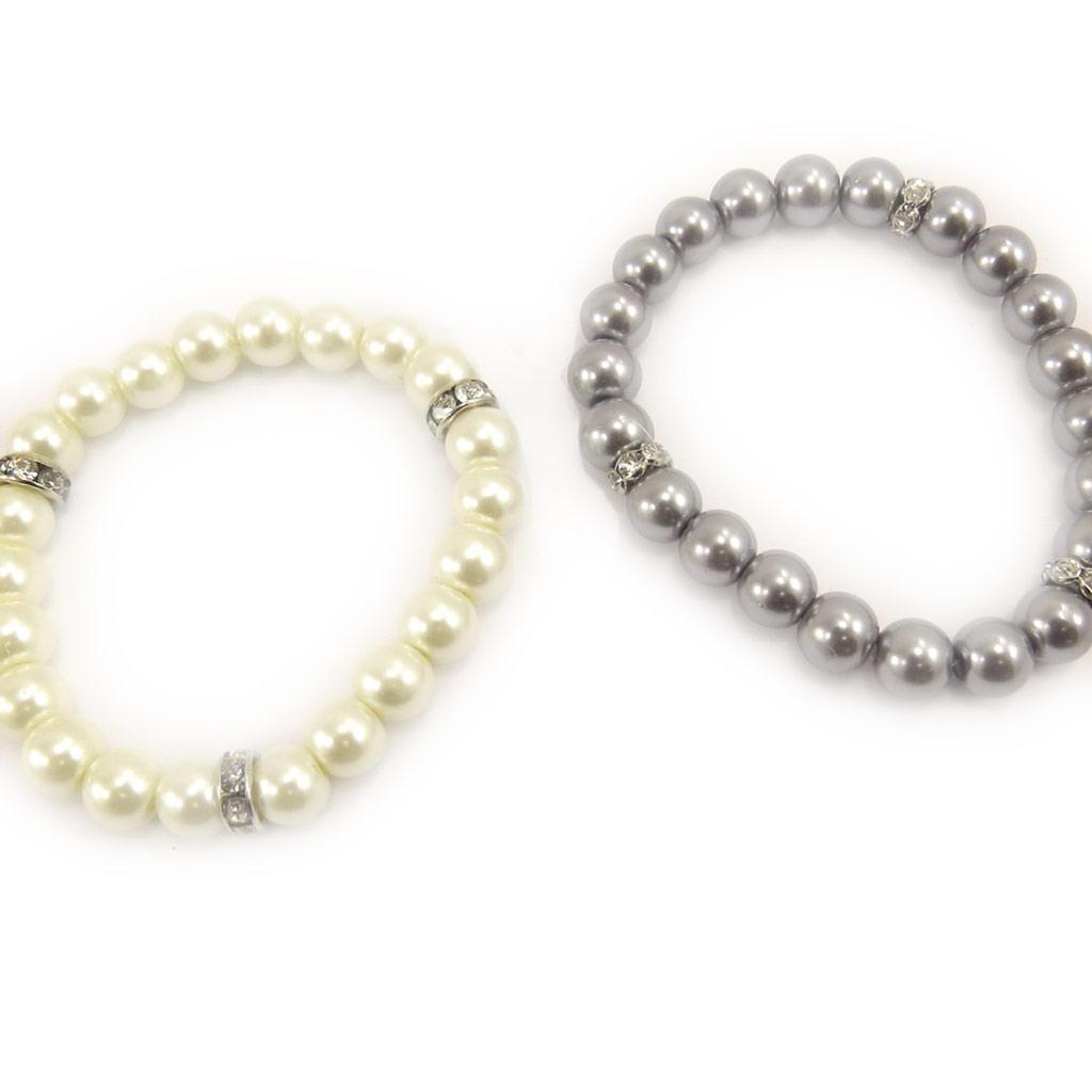 2 bracelets \'Sissi\' ivoire gris - [L1610]