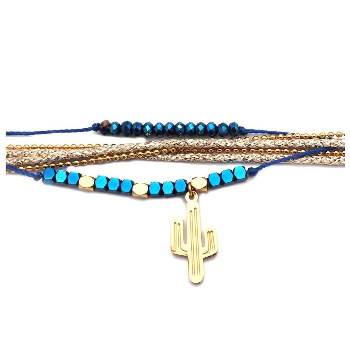 Bracelet créateur Acier \'Cactus\' bleu doré - 2 tours, 17x8 mm - [Q1253]