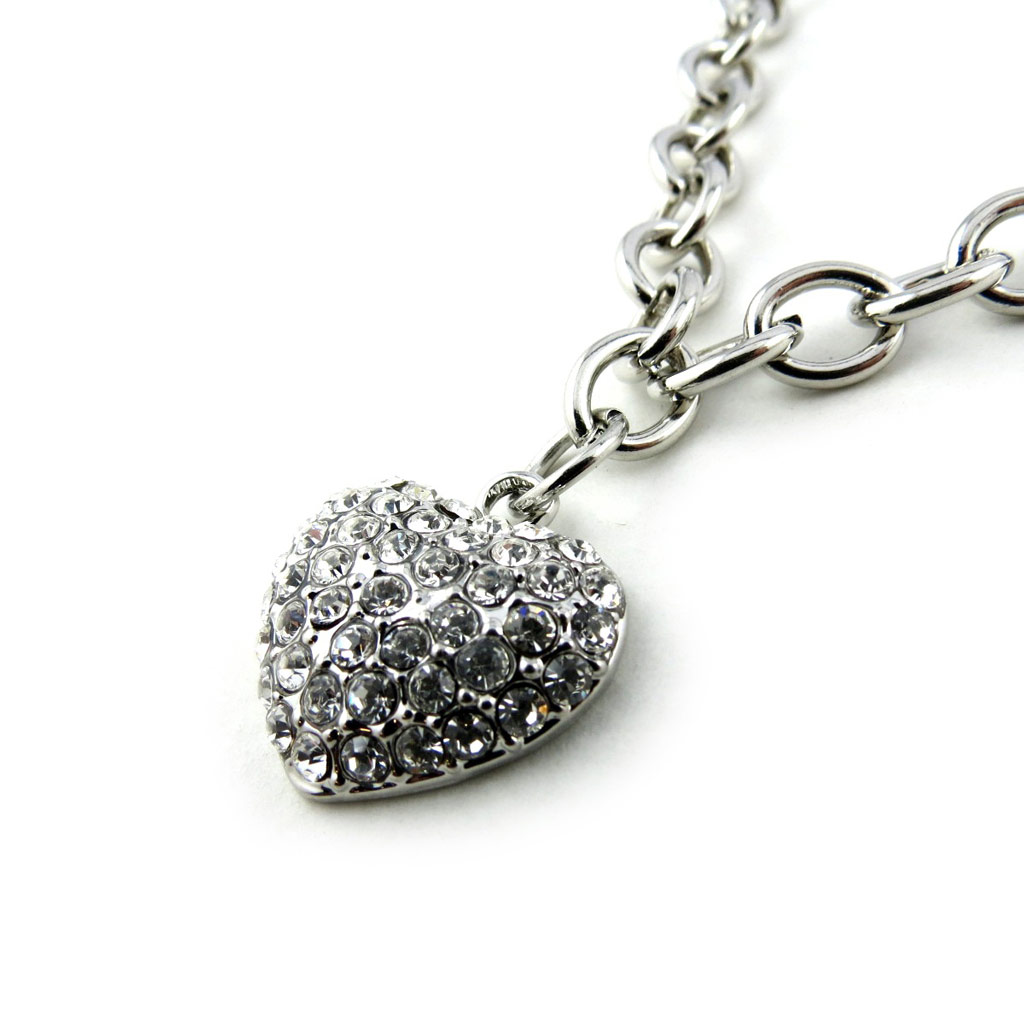 Collier créateur \'Love\' blanc argenté - [N1613]