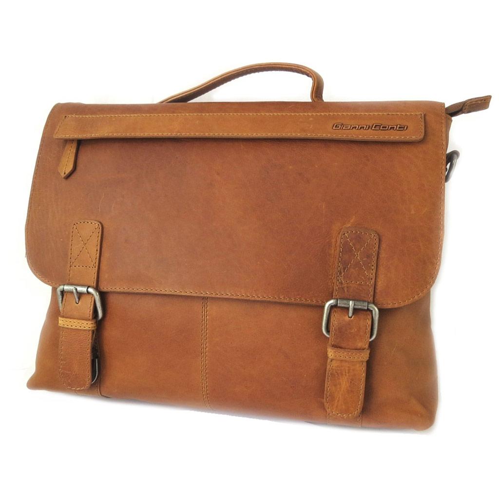 Sac cuir \'Gianni Conti\' marron vintage - 37x28x9 cm (spécial ordinateur 13\') - [P1345]