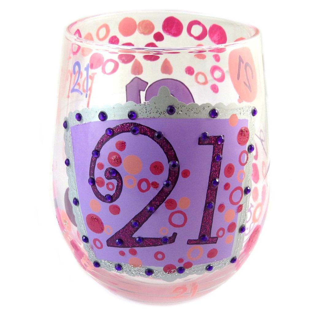 Les Trésors De Lily [P1363] - Verre à vin créateur \'21\' rose (stemless wine glass) - 10 cm… - [P1363]