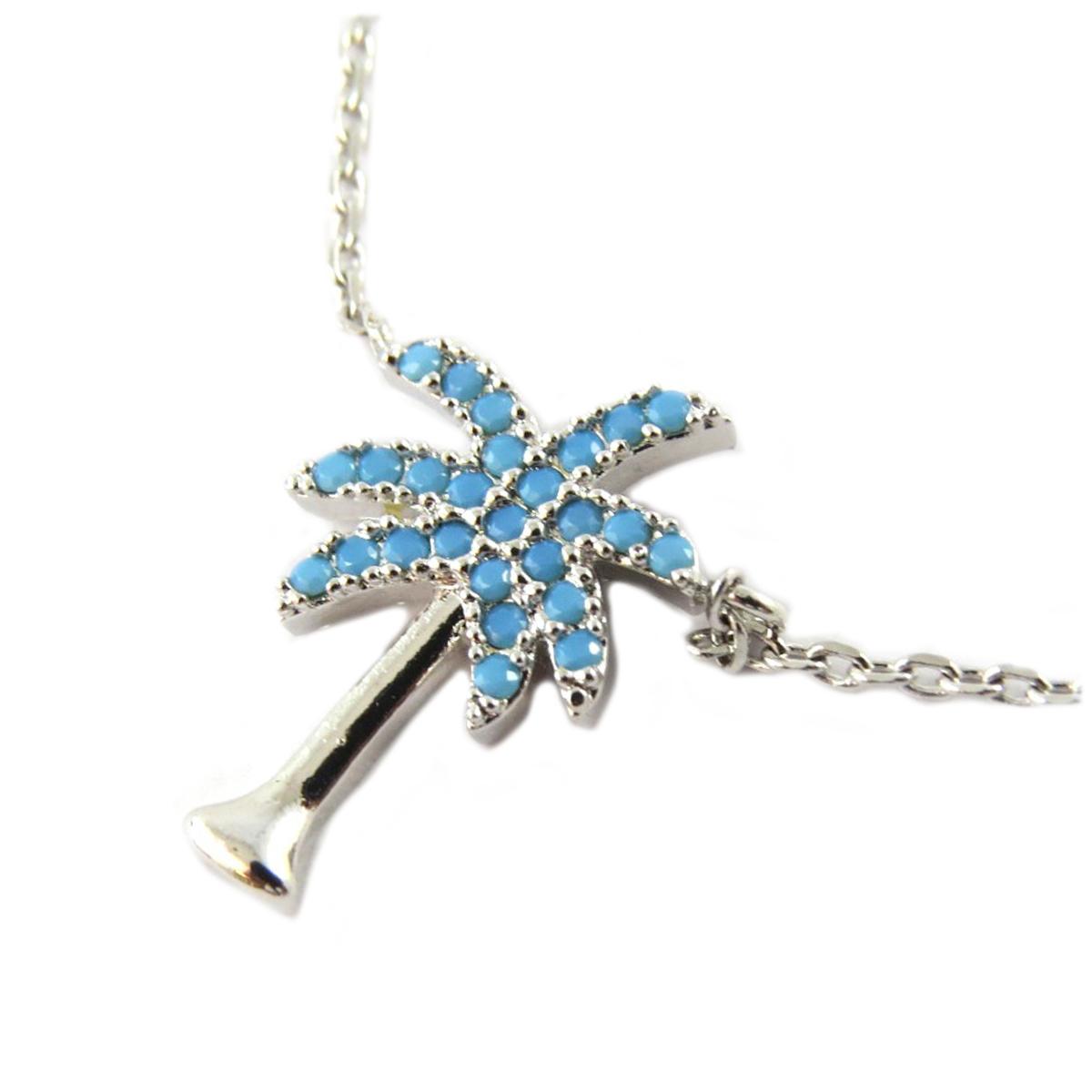 Collier artisanal \'Palmier\' turquoise argenté - 15x10 mm - [Q1390]