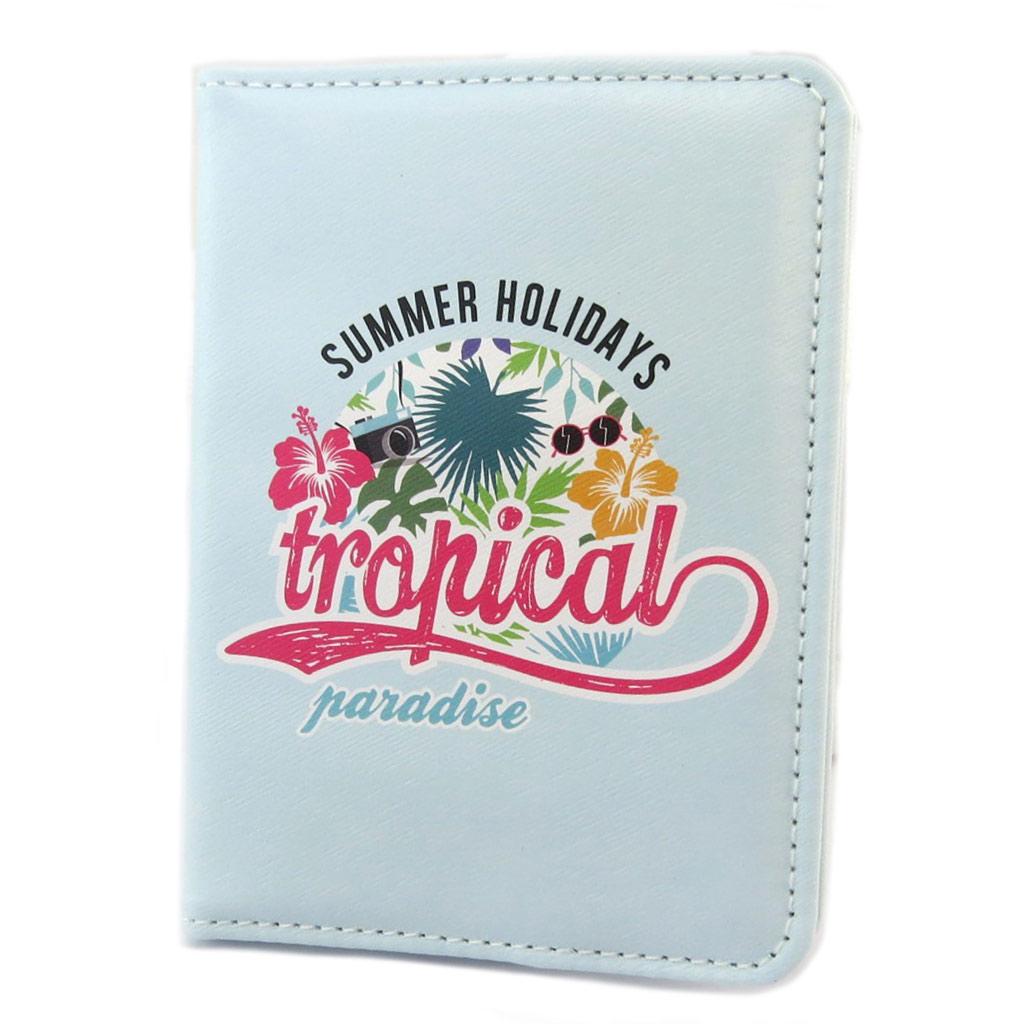 Etui passeport \'Tropical Paradise\' bleu - [P1419]