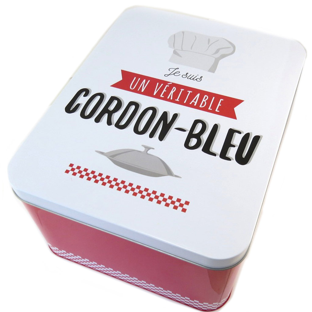 Boite métal \'Je suis un véritable Cordon Bleu\' rouge blanc - 31x24x15 cm - [P1432]