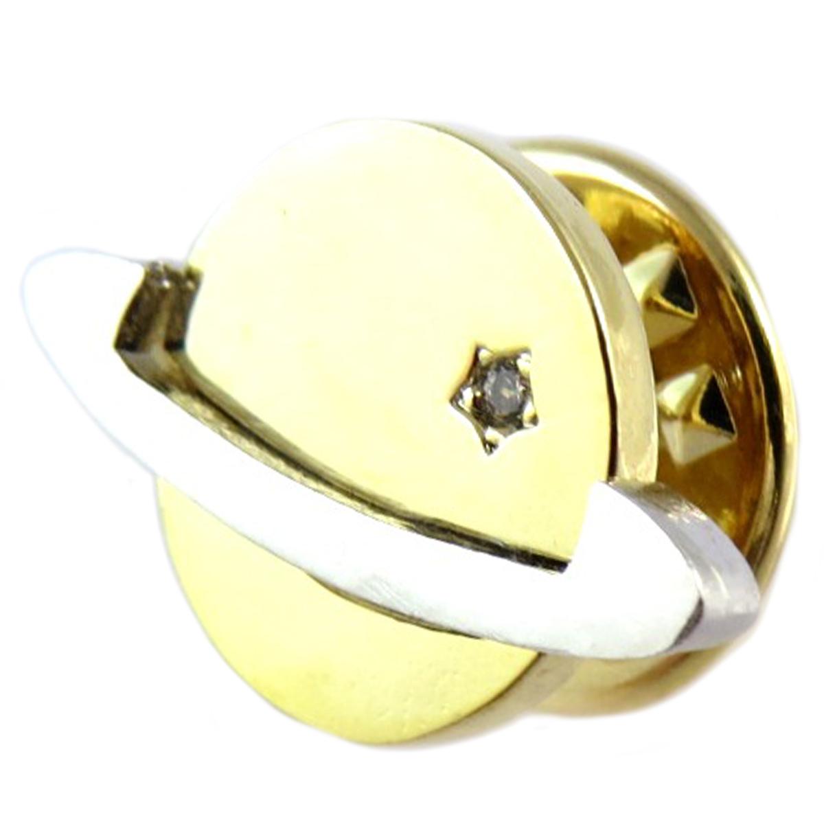 Broche pin\'s artisanal \'Saturne\' doré argenté - 18x12 mm - [Q1406]