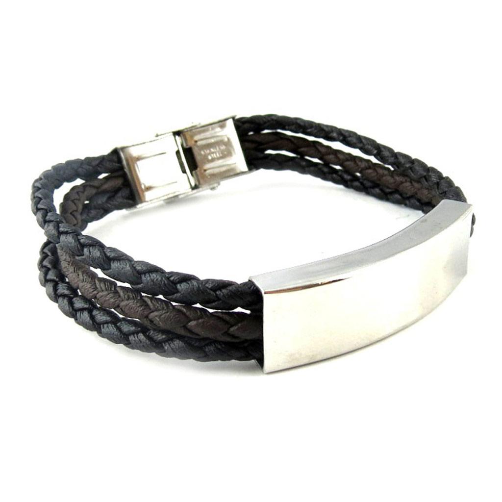 Bracelet acier \'Identité\' noir marron - [L1862]