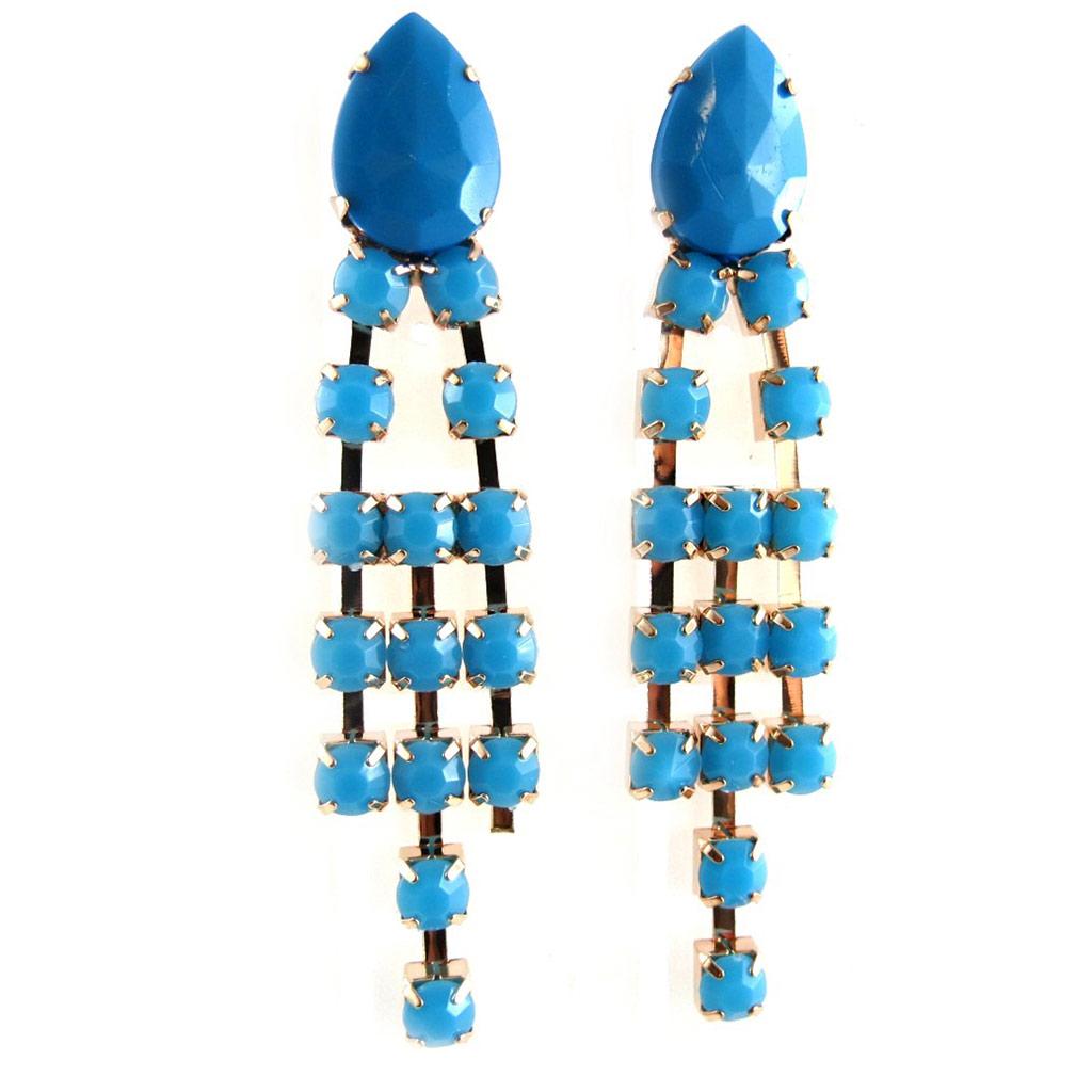 Boucles créateur \'Sissi\' turquoise - [L1887]