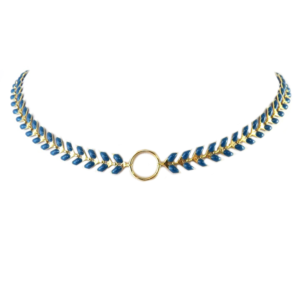 Collier artisanal \'Boho\' turquoise foncé doré (épi de blé) - 35 cm 6 mm - [Q1450]