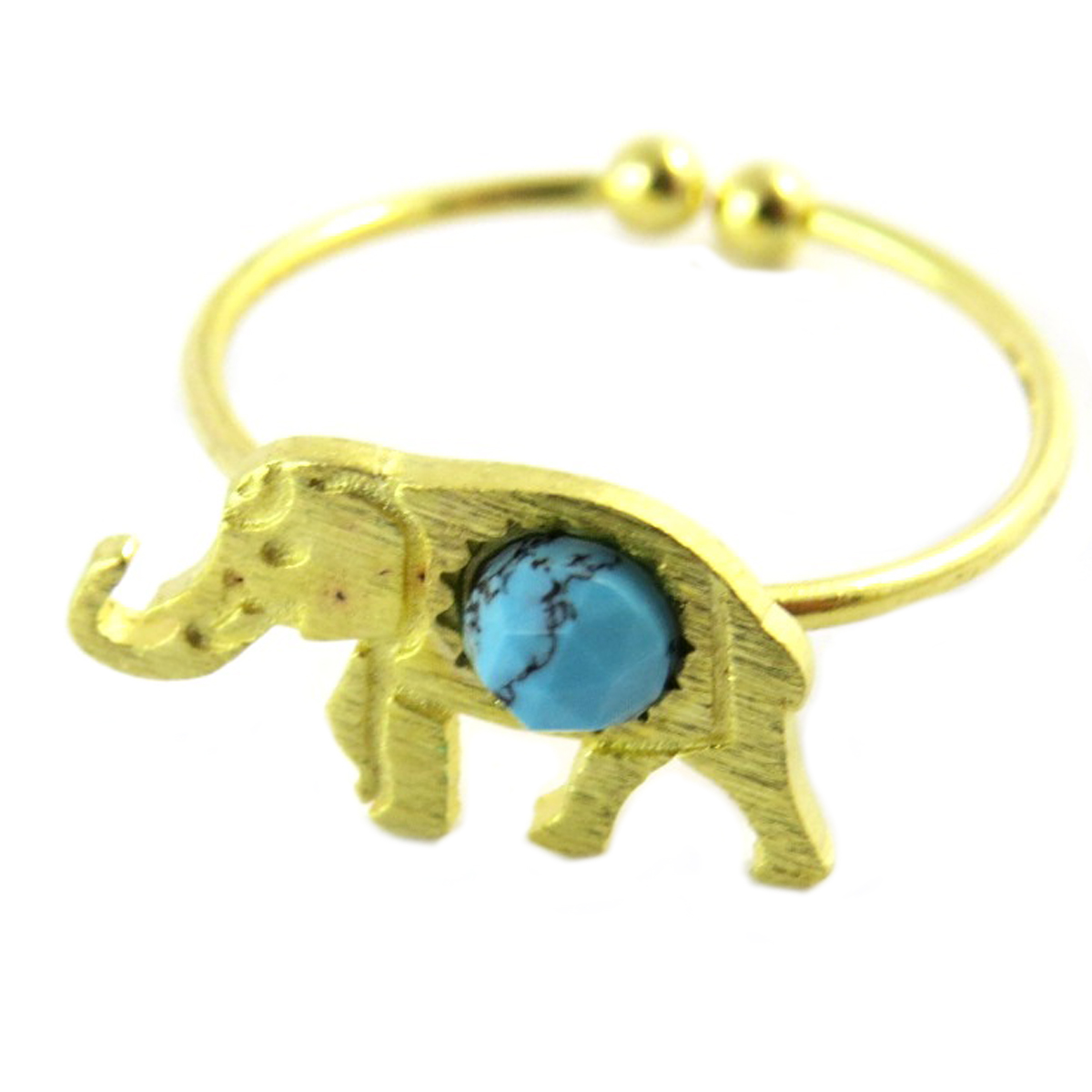 Bague artisanale \'Boho\' turquoise doré (éléphant)- 15x9 mm - [Q1470]