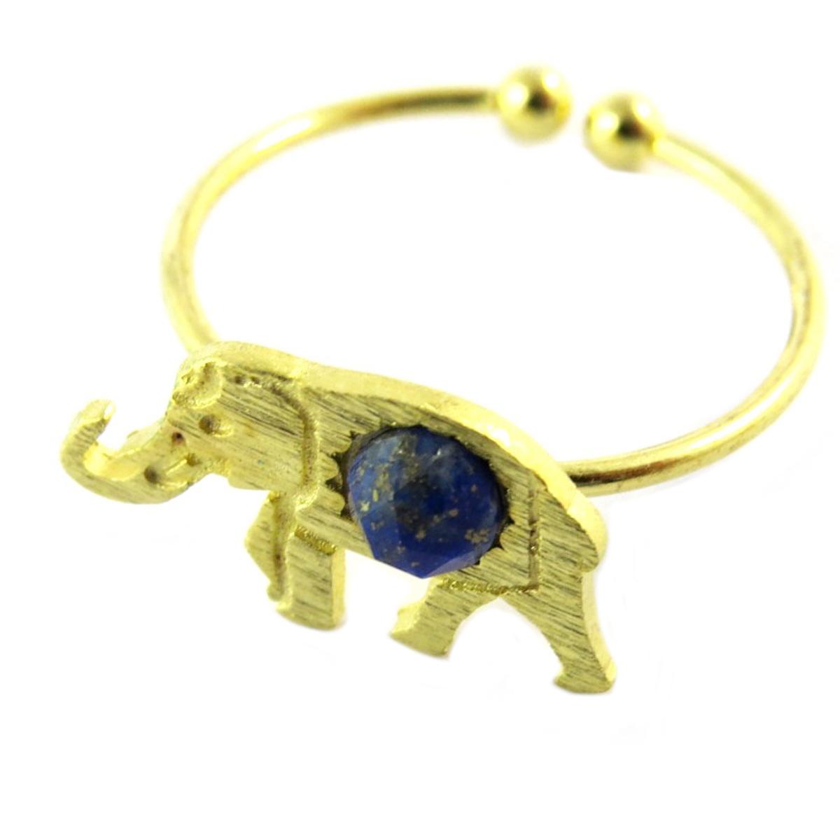 Bague artisanale \'Boho\' bleu doré (éléphant)- 15x9 mm - [Q1471]