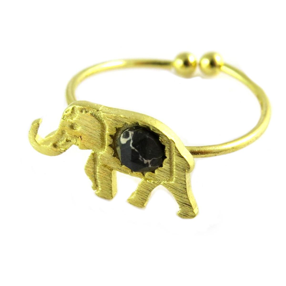 Bague artisanale \'Boho\' noir doré (éléphant)- 15x9 mm - [Q1472]