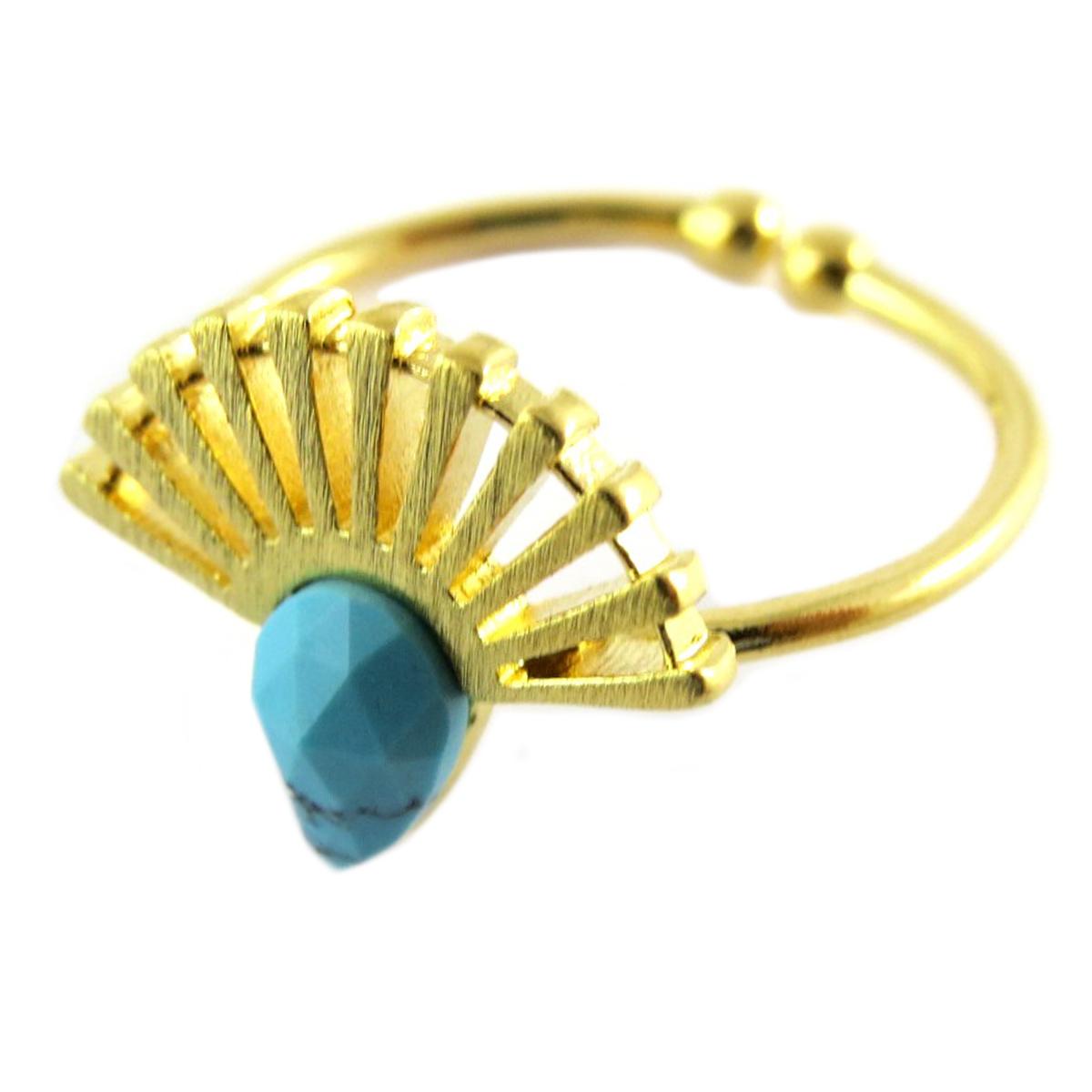 Bague artisanale \'Boho\' turquoise doré (éventail)- 14x11 mm - [Q1473]