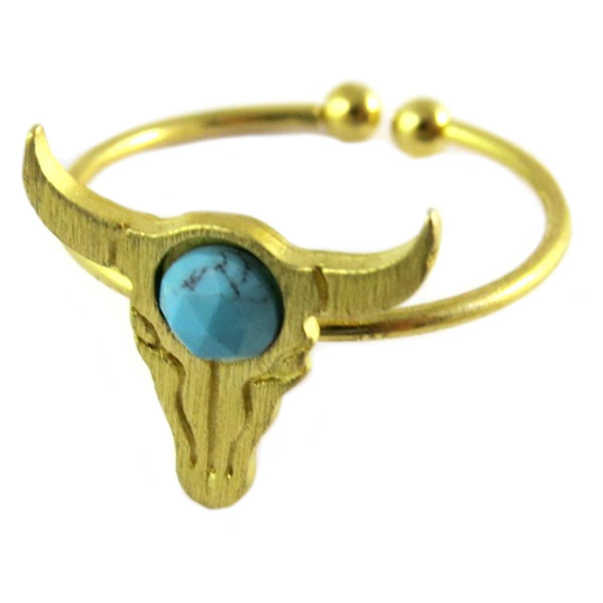 Bague artisanale \'Boho\' turquoise doré (crâne de bison)- 14x13 mm - [Q1474]