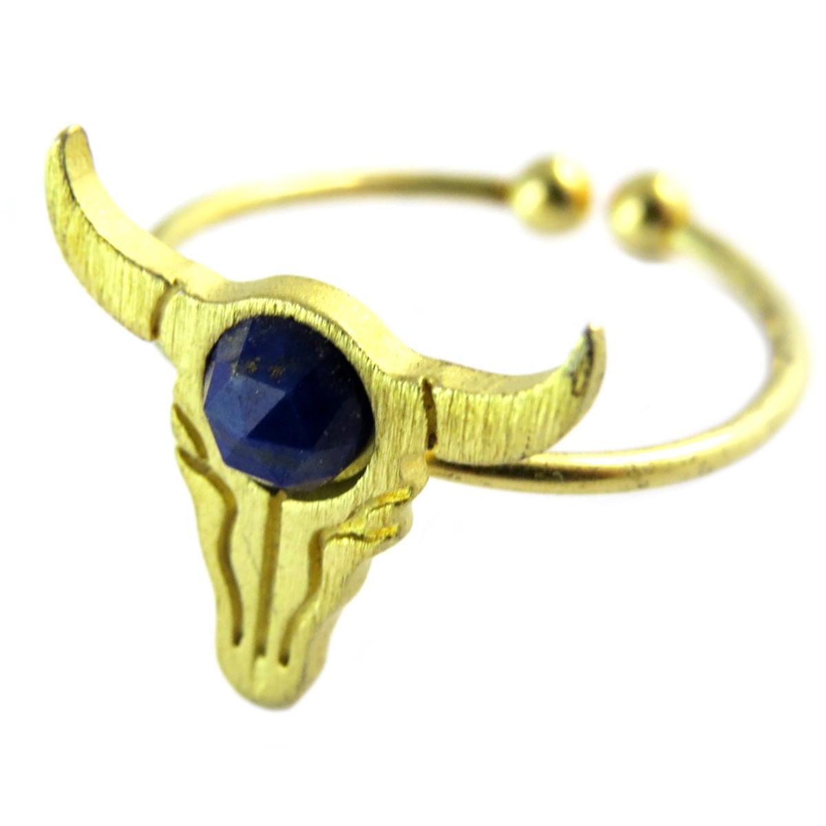 Bague artisanale \'Boho\' bleu doré (crâne de bison)- 14x13 mm - [Q1475]