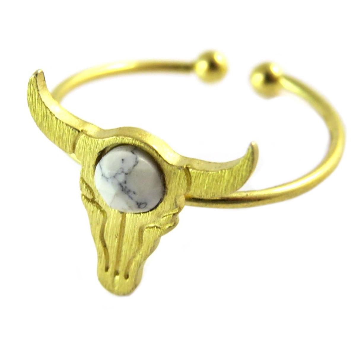 Bague artisanale \'Boho\' blanc doré (crâne de bison)- 14x13 mm - [Q1477]