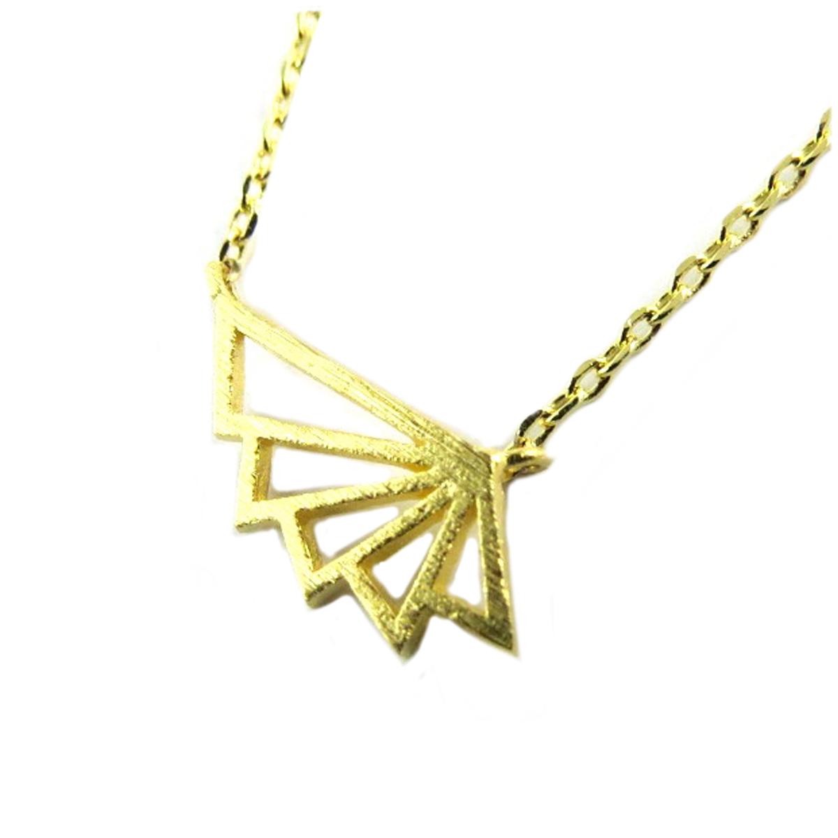 Collier artisanal \'Origami\' (éventail) doré - 15x5 mm - [Q1506]