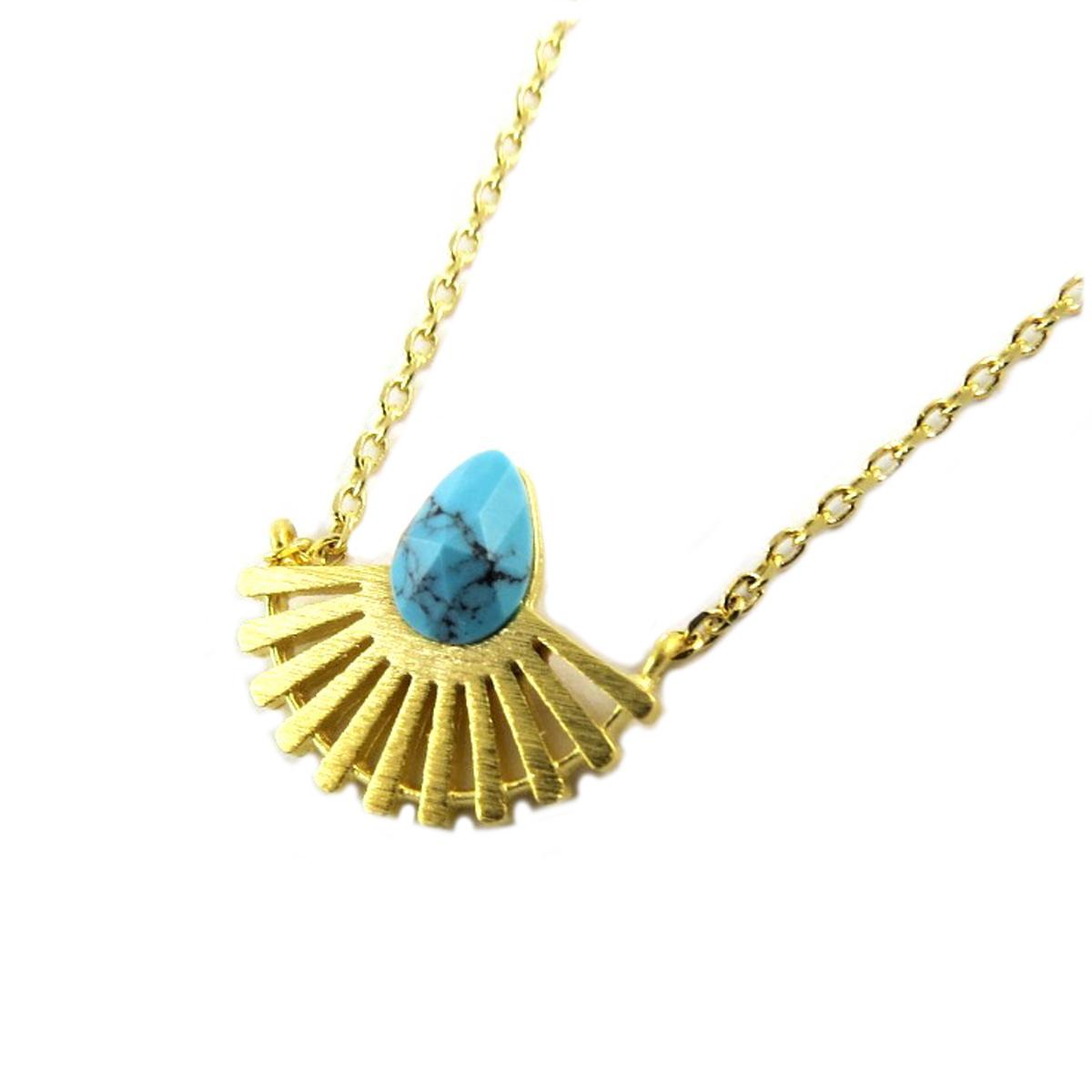 Collier artisanal \'Boho\' (plumes) turquoise doré - 15x7 mm - [Q1509]