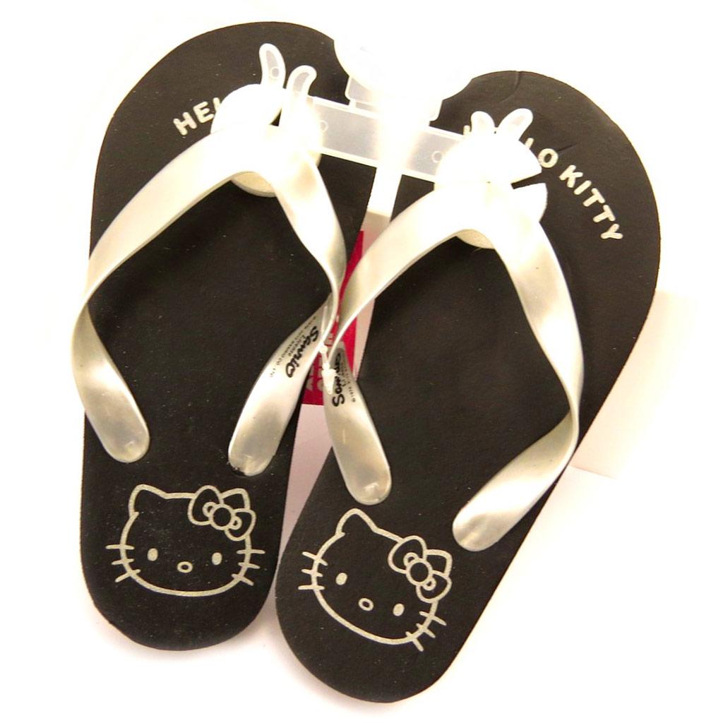Tongs \'Hello Kitty\' noir argenté - [L2075]