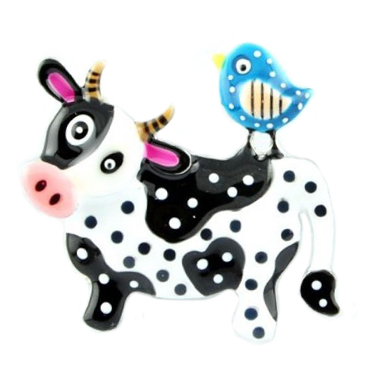 Broche créateur \'Lilipoupettes\' (vache) blanc noir bleu - 40x35 mm - [Q1594]