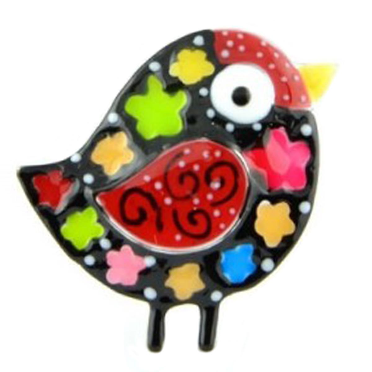Broche pin\'s créateur \'Lilipoupettes\' (oiseau) noir multicolore - 30x30 mm - [Q1613]
