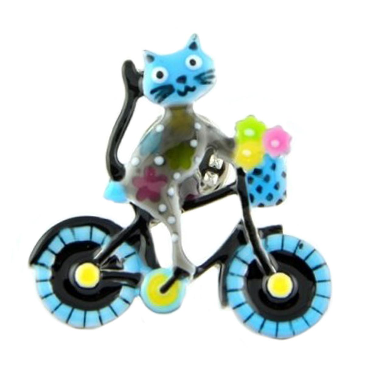 Broche pin\'s créateur \'Lilipoupettes\' (chat bicyclette) bleu gris - 33x33 mm - [Q1615]