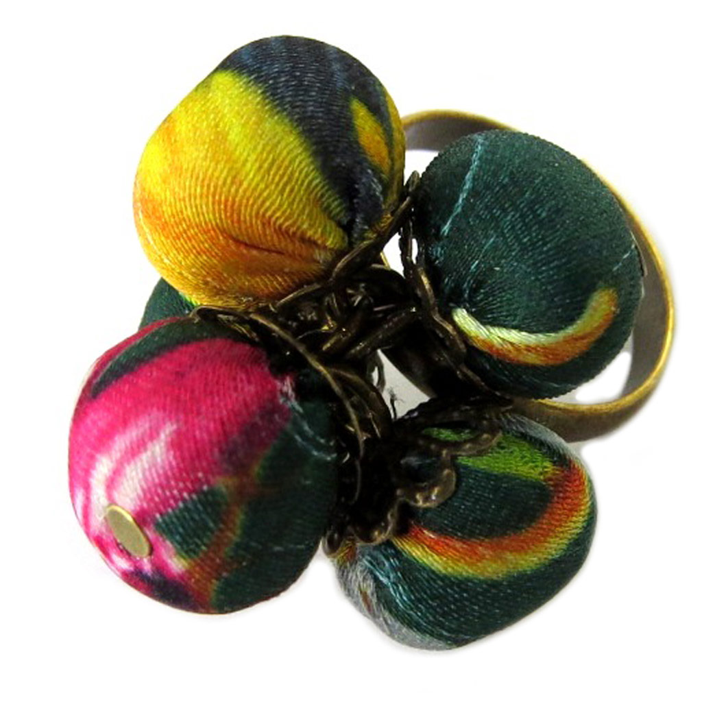 Bague artisanale \'Les Antoinettes\' vert multicolore (fait main) - [P1665]