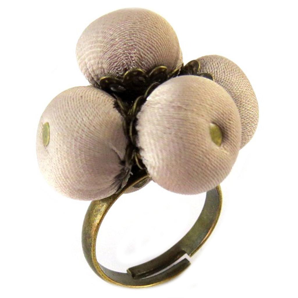 Bague artisanale \'Les Antoinettes\' vieux rose (fait main) - [P1666]