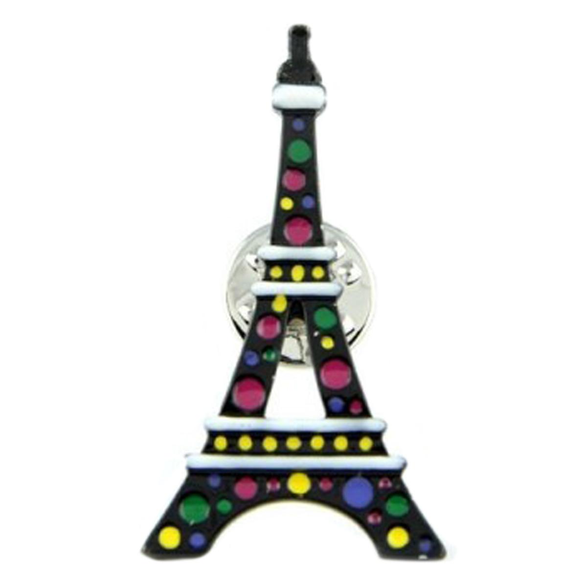 Broche pin\'s créateur \'Lilipoupettes\' (tour eiffel) noir multicolore - 40x22 mm - [Q1622]
