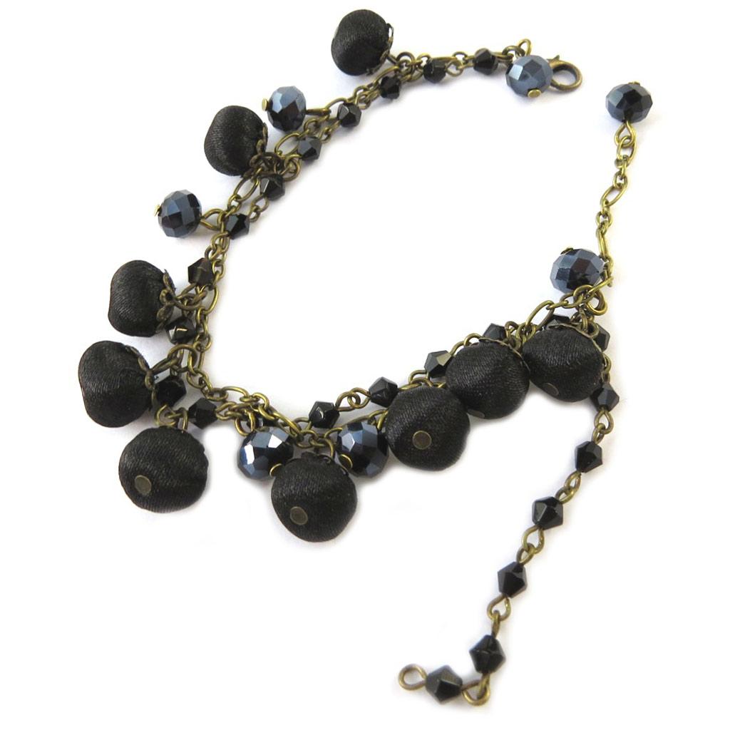 Bracelet artisanal \'Les Antoinettes\' noir (fait main) - [P1671]
